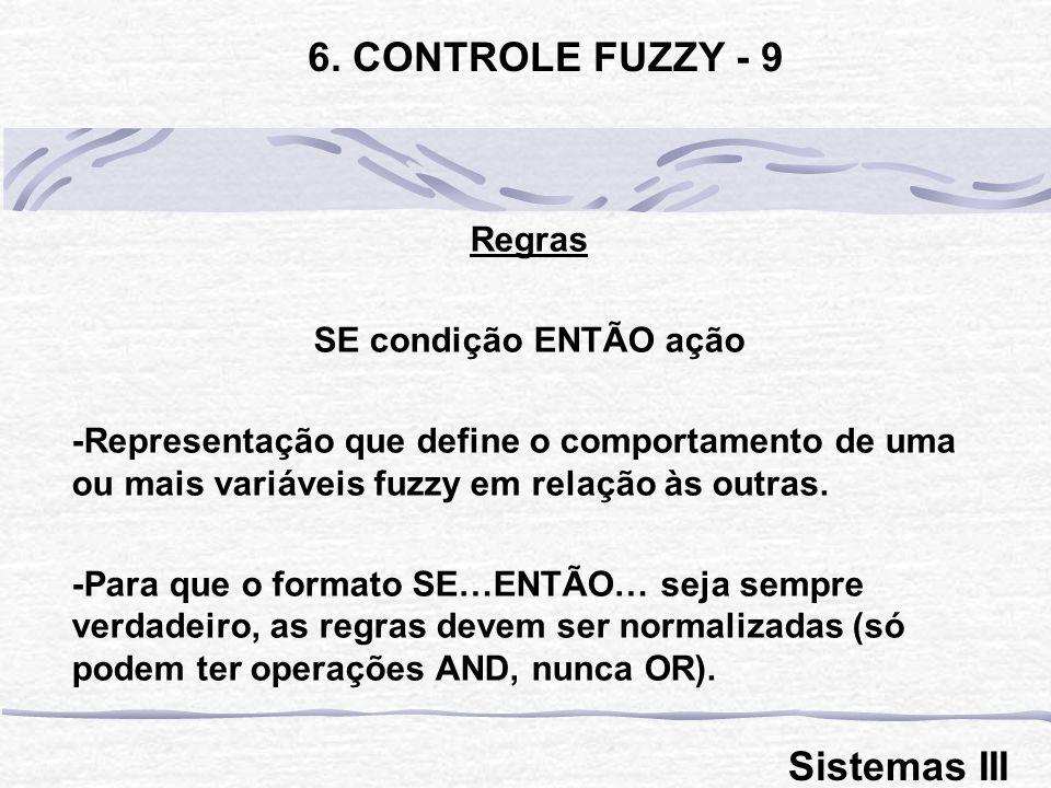 Regras SE condição ENTÃO ação -Representação que define o comportamento de uma ou mais variáveis fuzzy em relação às outras. -Para que o formato SE…EN