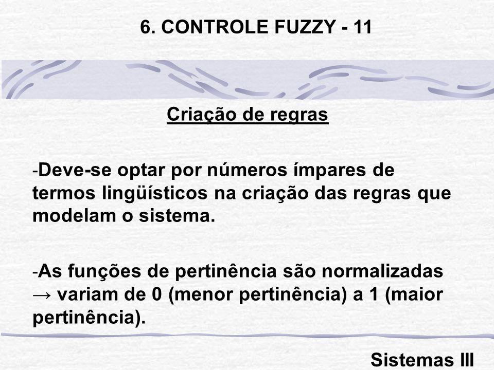 Criação de regras - Deve-se optar por números ímpares de termos lingüísticos na criação das regras que modelam o sistema. - As funções de pertinência