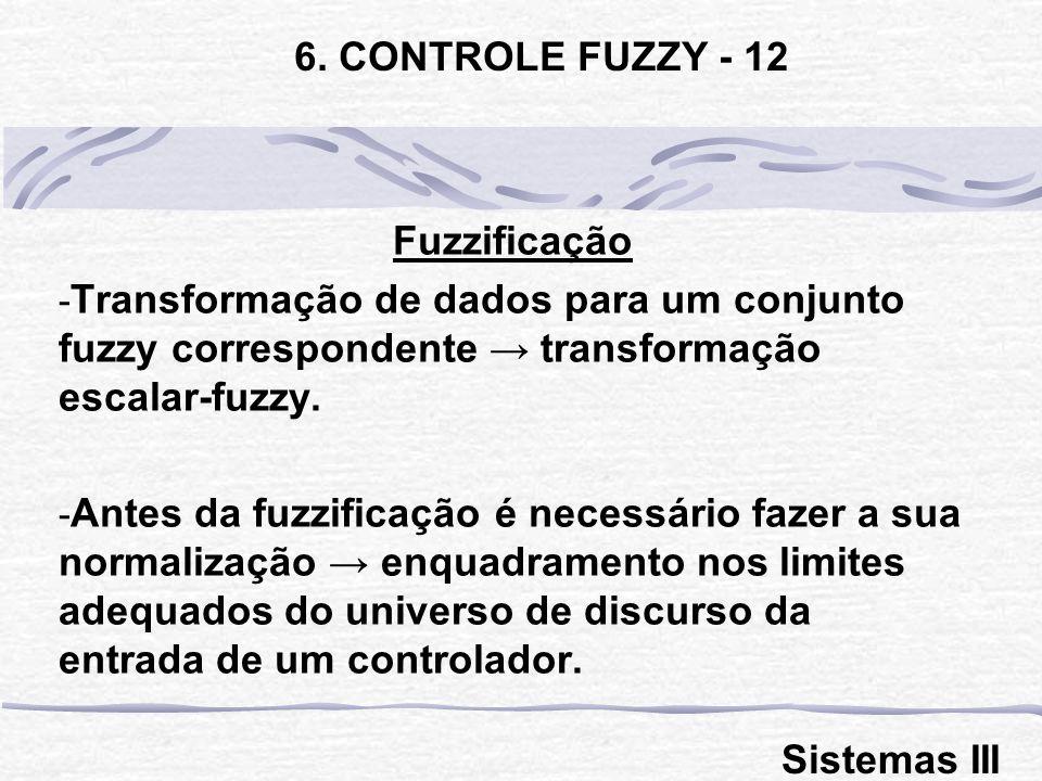 Fuzzificação - Transformação de dados para um conjunto fuzzy correspondente transformação escalar-fuzzy. - Antes da fuzzificação é necessário fazer a