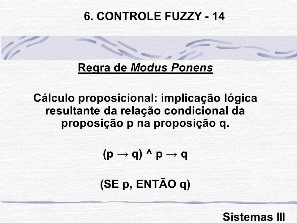 Regra de Modus Ponens Cálculo proposicional: implicação lógica resultante da relação condicional da proposição p na proposição q. (p q) ^ p q (SE p, E