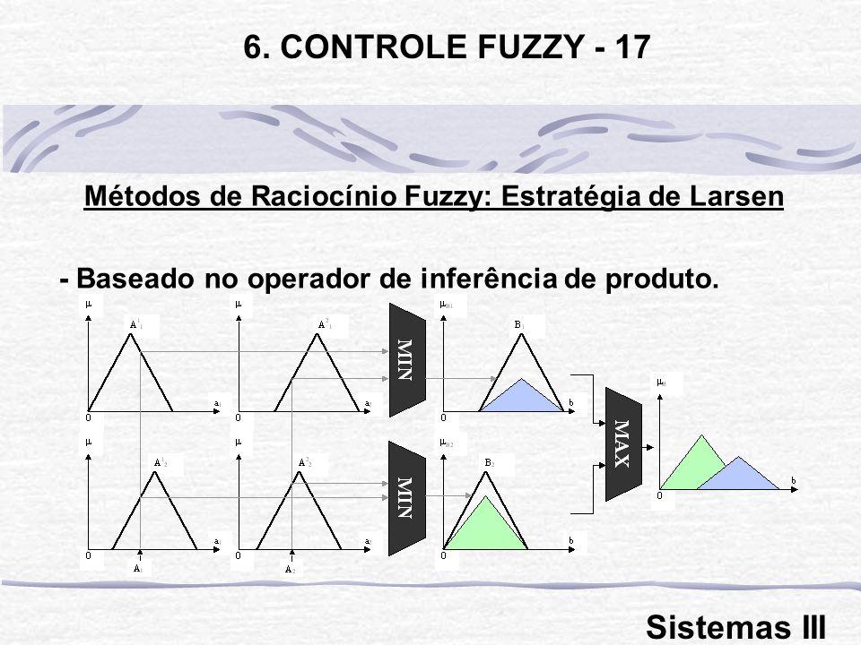 Métodos de Raciocínio Fuzzy: Estratégia de Larsen - Baseado no operador de inferência de produto. 6. CONTROLE FUZZY - 17 Sistemas III