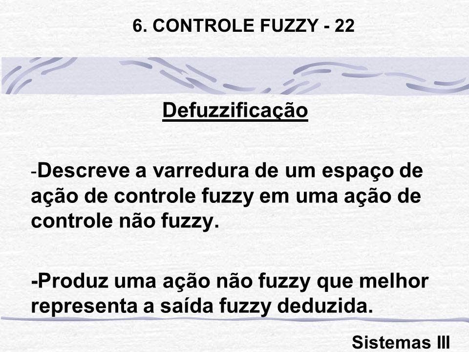 Defuzzificação - Descreve a varredura de um espaço de ação de controle fuzzy em uma ação de controle não fuzzy. -Produz uma ação não fuzzy que melhor
