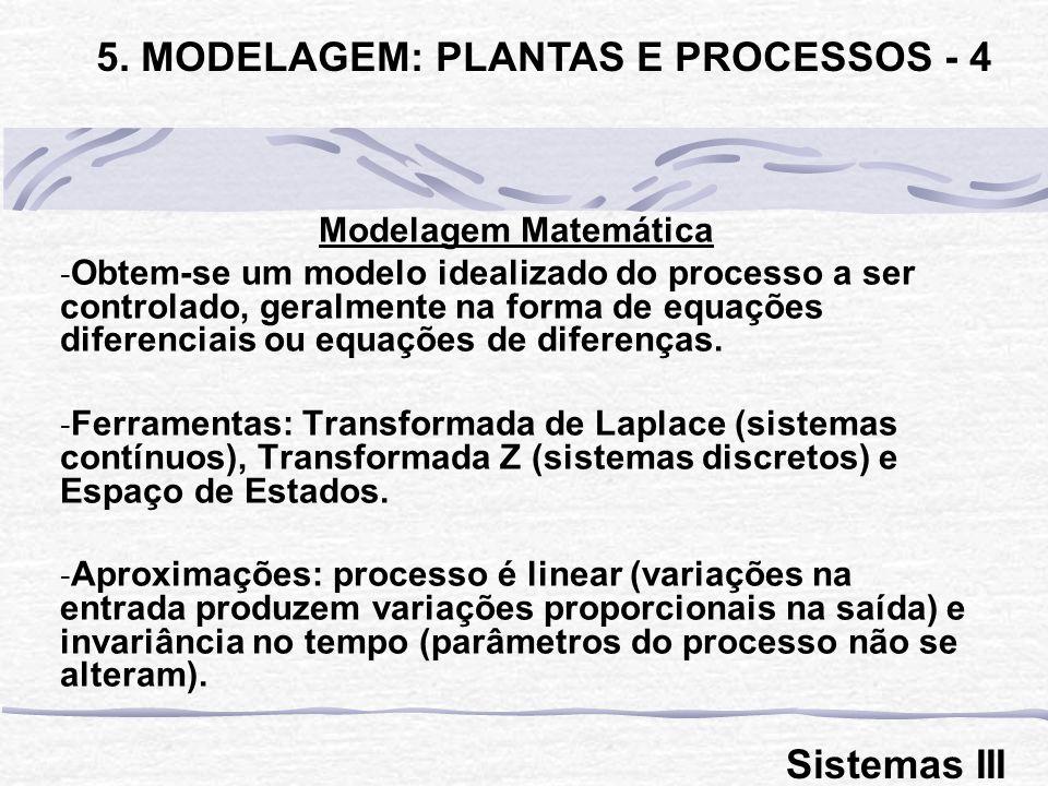 Modelagem Matemática - Obtem-se um modelo idealizado do processo a ser controlado, geralmente na forma de equações diferenciais ou equações de diferen