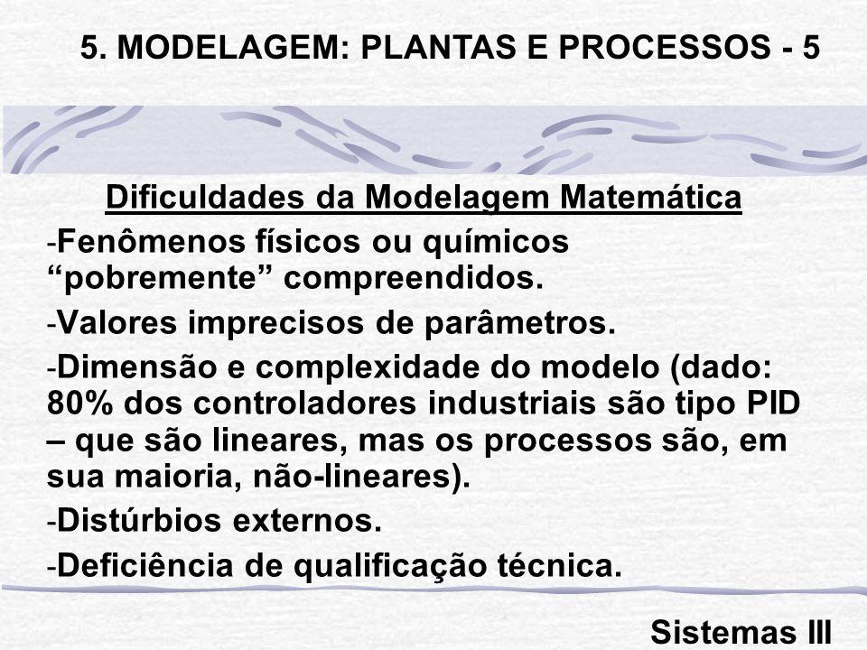 Dificuldades da Modelagem Matemática - Fenômenos físicos ou químicos pobremente compreendidos. - Valores imprecisos de parâmetros. - Dimensão e comple