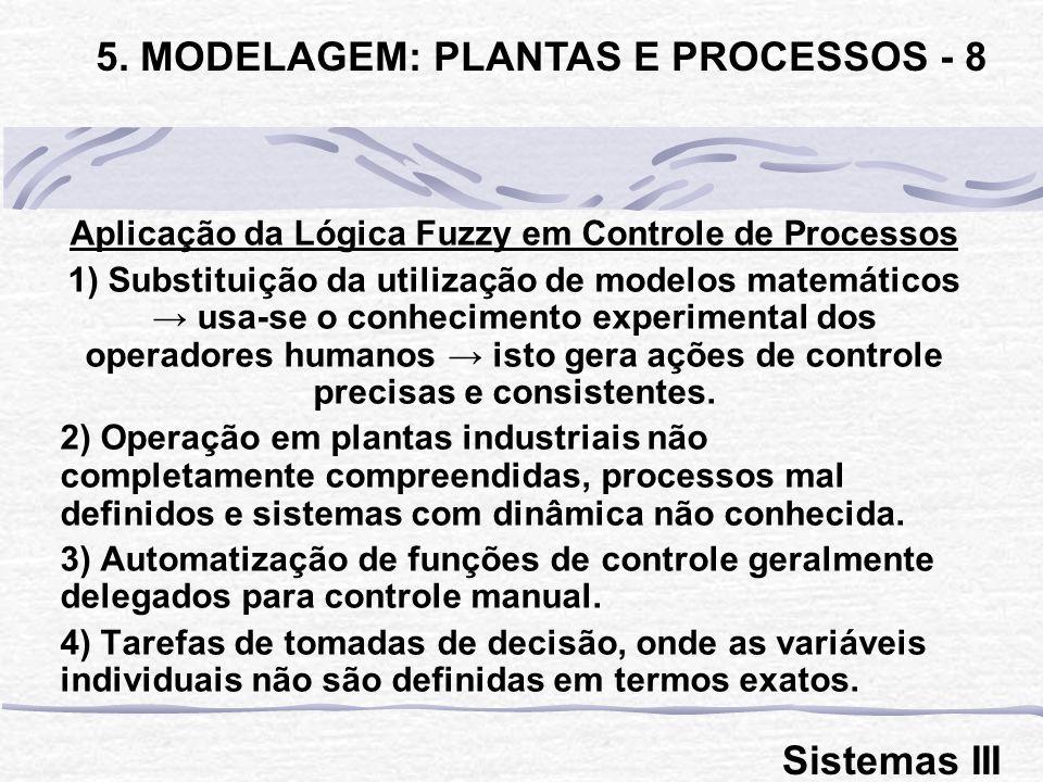 Aplicação da Lógica Fuzzy em Controle de Processos 1) Substituição da utilização de modelos matemáticos usa-se o conhecimento experimental dos operado