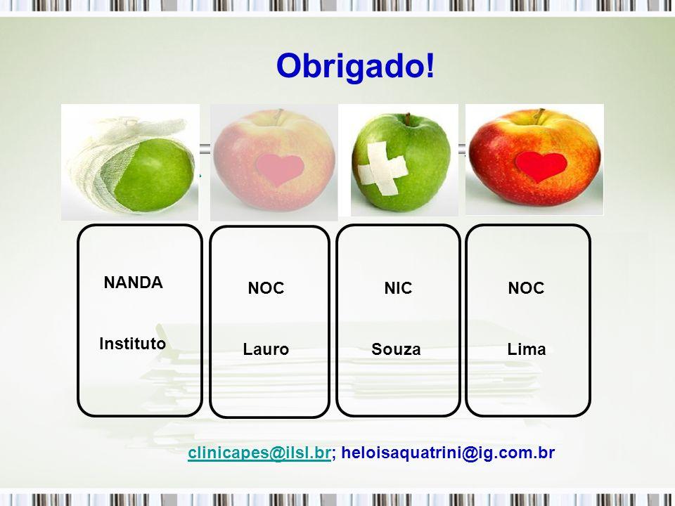 Obrigado! NANDANOC NIC NOC NANDA Instituto NOC Lauro NIC Souza NOC Lima clinicapes@ilsl.brclinicapes@ilsl.br; heloisaquatrini@ig.com.br