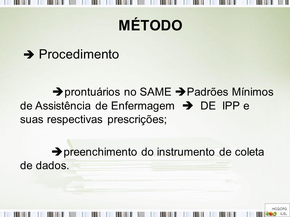 MÉTODO HCQCPG ILSL Procedimento prontuários no SAME Padrões Mínimos de Assistência de Enfermagem DE IPP e suas respectivas prescrições; preenchimento