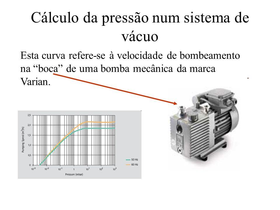 Cálculo da pressão num sistema de vácuo Esta curva refere-se à velocidade de bombeamento na boca de uma bomba mecânica da marca Varian.