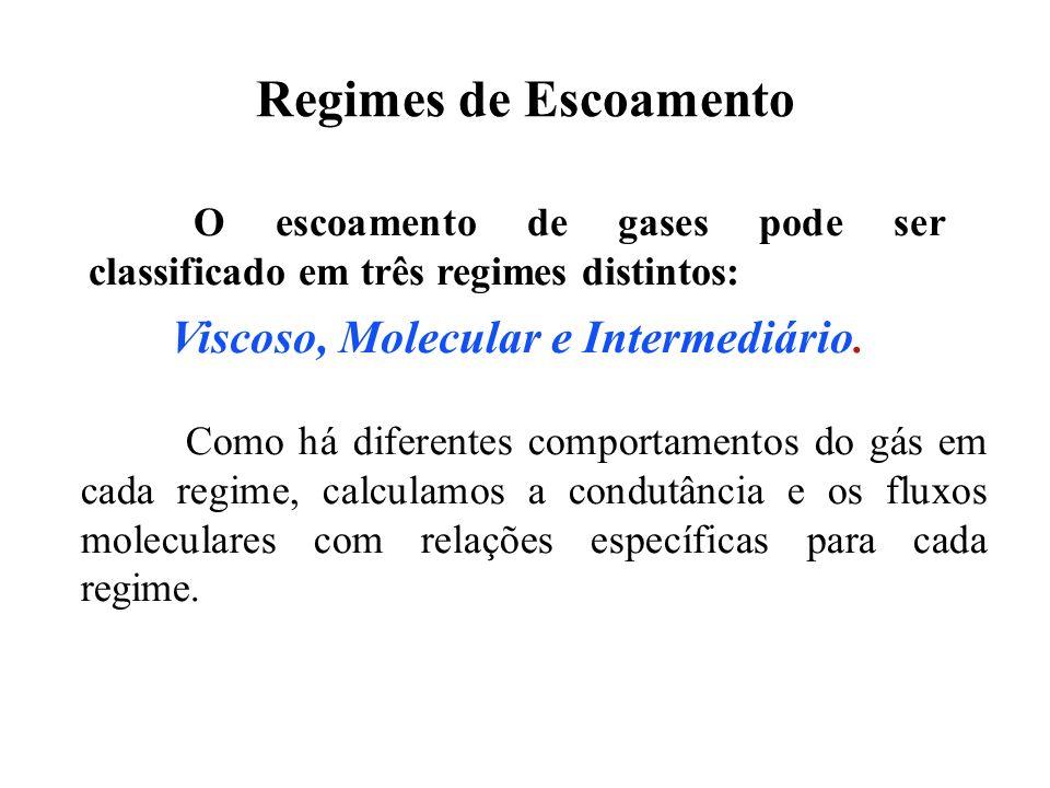 O escoamento de gases pode ser classificado em três regimes distintos: Viscoso, Molecular e Intermediário. Como há diferentes comportamentos do gás em