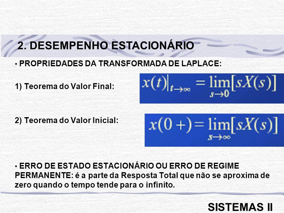 MALHA ABERTA: FTMA = G(s).H(s) = B(s) / E(s) RAMO DIRETO: FTRD = G(s) = C(s) / E(s) MALHA FECHADA: FTMF = C(s) / R(s) = G(s) / [1 + G(s).H(s)] Se H(s) = 1 FTMF = G(s) / [1 + G(s)] Se G(s) = [N(s) / D(s)] e H(s) = 1 FTMF = N(s) / [N(s) + D(s)] Se G(s).H(s) >> 1 FTMF 1 / H(s) 1) Sistemas em malha fechada apresentam grande insensibilidade a mudanças nas características dos elementos do ramo direto.