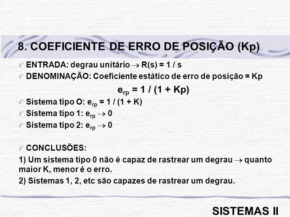 ENTRADA: rampa unitária R(s) = 1 / s 2 DENOMINAÇÃO: Coeficiente estático de erro de velocidade = Kv e rp = 1 / Kv Sistema tipo O: e rp Sistema tipo 1: e rp = 1 / K Sistema tipo 2: e rp 0 CONCLUSÃO: 1) Somente um sistema tipo 2 é capaz de rastrear uma rampa.
