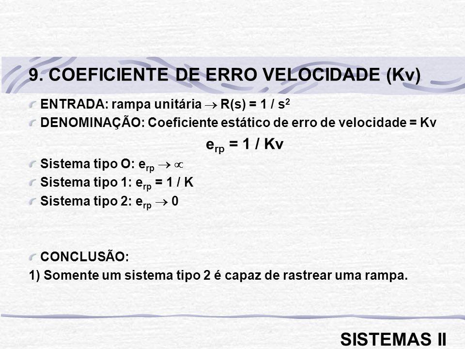ENTRADA: parábola unitária R(s) = 1 / s 3 DENOMINAÇÃO: Coeficiente estático de erro de aceleração = Ka e rp = 1 / Ka Sistema tipo O: e rp Sistema tipo 1: e rp Sistema tipo 2: e rp = 1 /K Sistema tipo 3: e rp 0 CONCLUSÃO: 1) Somente um sistema tipo 3 é capaz de rastrear uma parábola.