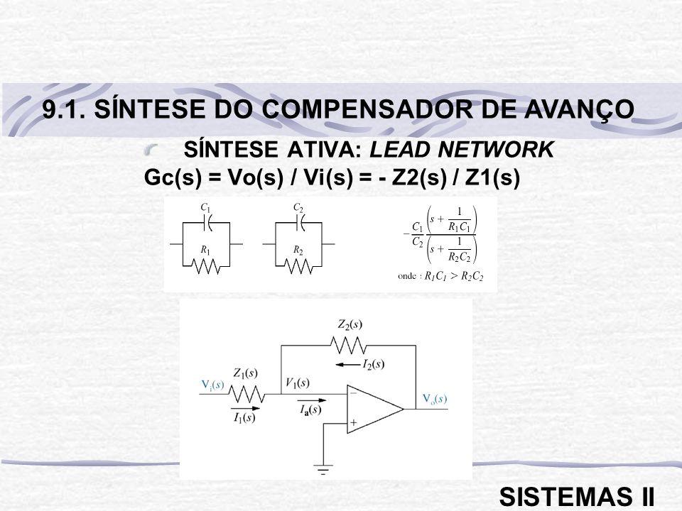 SÍNTESE ATIVA: LEAD NETWORK Gc(s) = Vo(s) / Vi(s) = - Z2(s) / Z1(s) 9.1. SÍNTESE DO COMPENSADOR DE AVANÇO SISTEMAS II