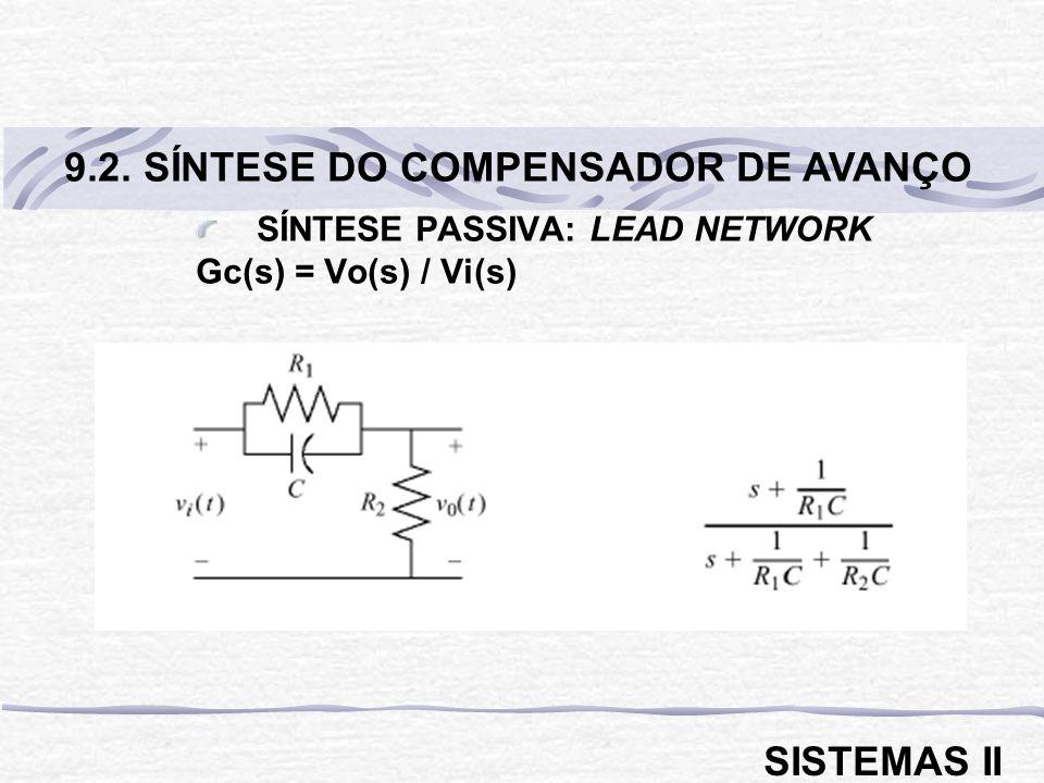 SÍNTESE PASSIVA: LEAD NETWORK Gc(s) = Vo(s) / Vi(s) 9.2. SÍNTESE DO COMPENSADOR DE AVANÇO SISTEMAS II