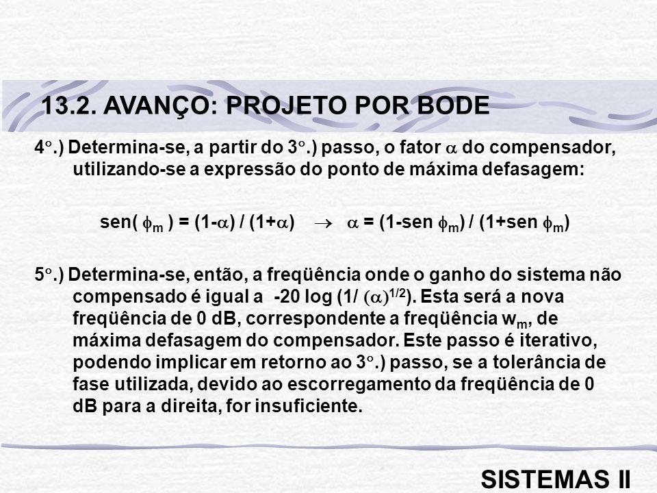 4.) Determina-se, a partir do 3.) passo, o fator do compensador, utilizando-se a expressão do ponto de máxima defasagem: sen( m ) = (1- ) / (1+ ) = (1