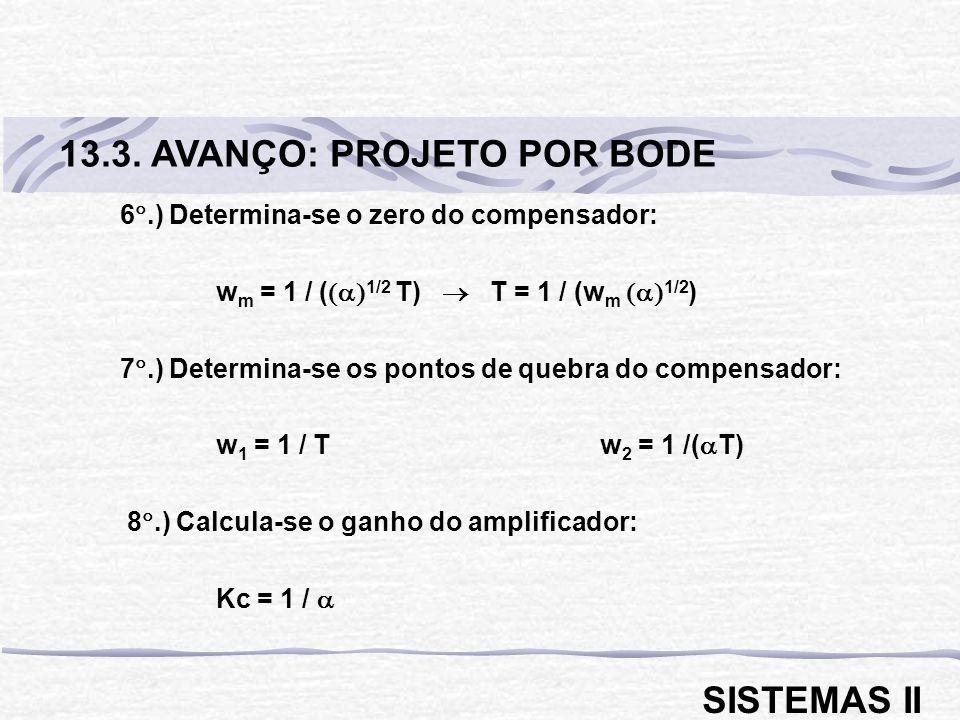 6.) Determina-se o zero do compensador: w m = 1 / ( 1/2 T) T = 1 / (w m 1/2 ) 7.) Determina-se os pontos de quebra do compensador: w 1 = 1 / Tw 2 = 1