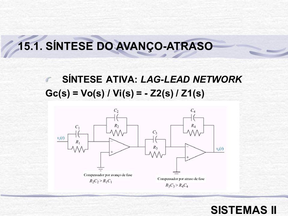 SÍNTESE ATIVA: LAG-LEAD NETWORK Gc(s) = Vo(s) / Vi(s) = - Z2(s) / Z1(s) 15.1. SÍNTESE DO AVANÇO-ATRASO SISTEMAS II