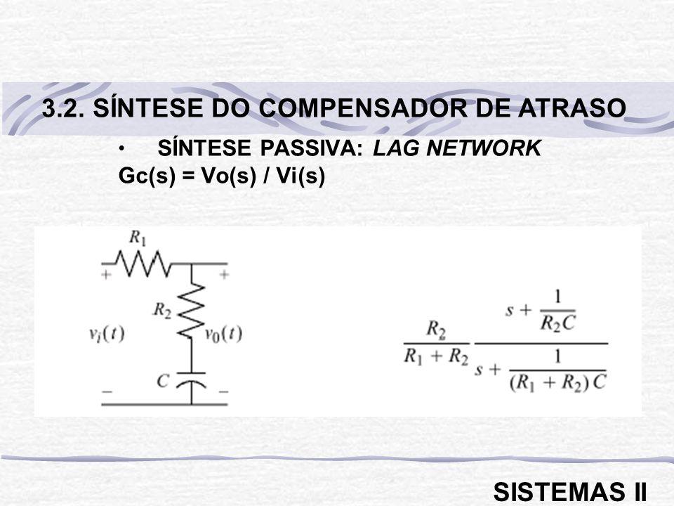 SÍNTESE PASSIVA: LAG NETWORK Gc(s) = Vo(s) / Vi(s) 3.2. SÍNTESE DO COMPENSADOR DE ATRASO SISTEMAS II