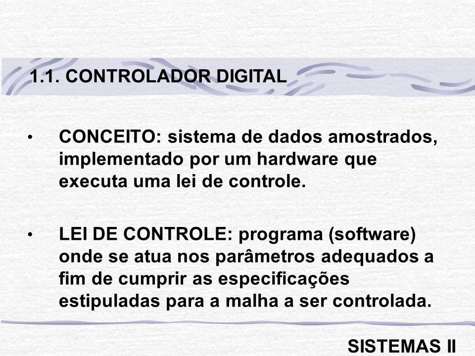 CONCEITO: sistema de dados amostrados, implementado por um hardware que executa uma lei de controle. LEI DE CONTROLE: programa (software) onde se atua