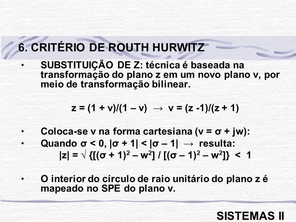 SUBSTITUIÇÃO DE Z: técnica é baseada na transformação do plano z em um novo plano v, por meio de transformação bilinear. z = (1 + v)/(1 – v) v = (z -1