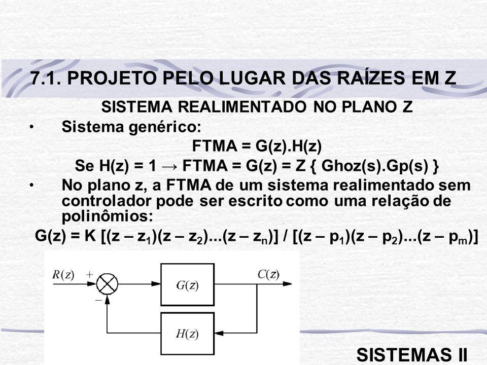 SISTEMA REALIMENTADO NO PLANO Z Sistema genérico: FTMA = G(z).H(z) Se H(z) = 1 FTMA = G(z) = Z { Ghoz(s).Gp(s) } No plano z, a FTMA de um sistema real