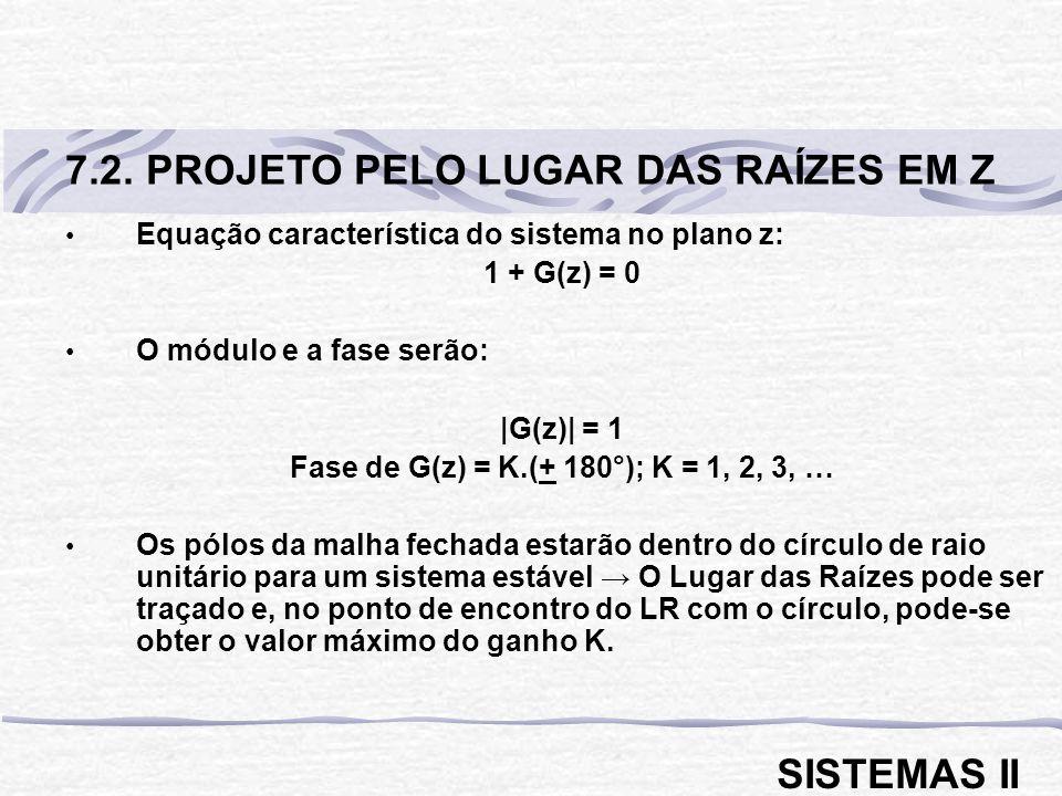 Equação característica do sistema no plano z: 1 + G(z) = 0 O módulo e a fase serão: |G(z)| = 1 Fase de G(z) = K.(+ 180°); K = 1, 2, 3, … Os pólos da m