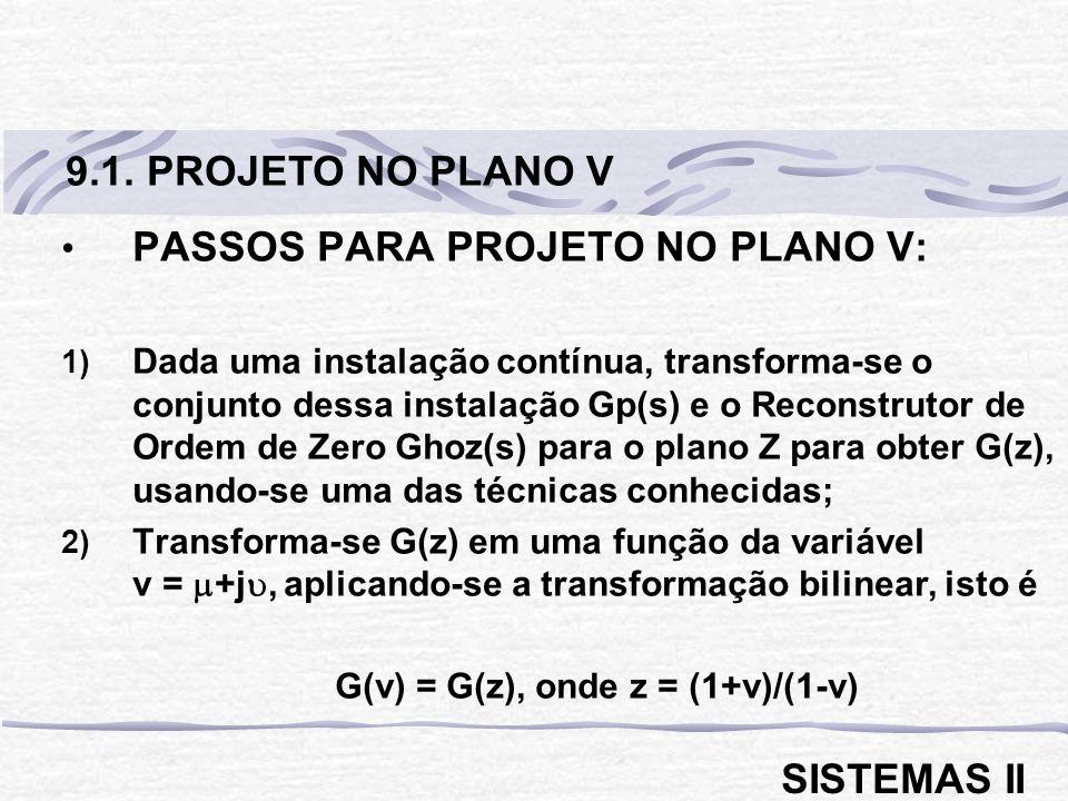 PASSOS PARA PROJETO NO PLANO V: 1) Dada uma instalação contínua, transforma-se o conjunto dessa instalação Gp(s) e o Reconstrutor de Ordem de Zero Gho