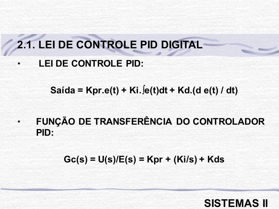 LEI DE CONTROLE PID: Saída = Kpr.e(t) + Ki. e(t)dt + Kd.(d e(t) / dt) FUNÇÃO DE TRANSFERÊNCIA DO CONTROLADOR PID: Gc(s) = U(s)/E(s) = Kpr + (Ki/s) + K