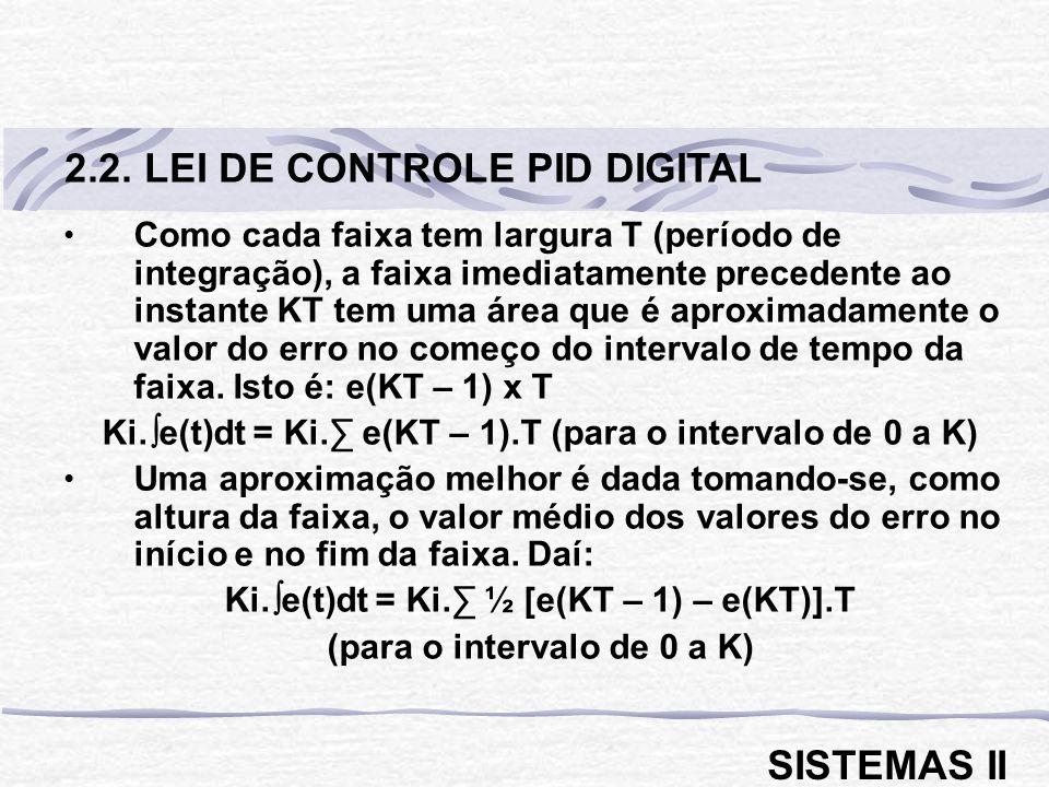 Como cada faixa tem largura T (período de integração), a faixa imediatamente precedente ao instante KT tem uma área que é aproximadamente o valor do e