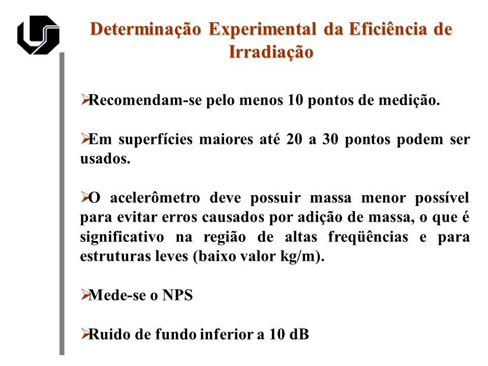 Recomendam-se pelo menos 10 pontos de medição. Em superfícies maiores até 20 a 30 pontos podem ser usados. O acelerômetro deve possuir massa menor pos