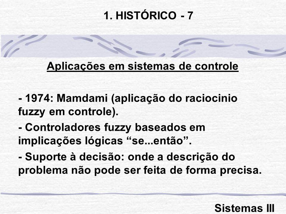 Aplicações em sistemas de controle - 1974: Mamdami (aplicação do raciocinio fuzzy em controle). - Controladores fuzzy baseados em implicações lógicas