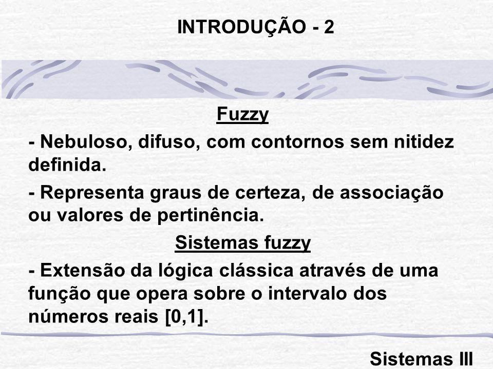 Fuzzy - Nebuloso, difuso, com contornos sem nitidez definida. - Representa graus de certeza, de associação ou valores de pertinência. Sistemas fuzzy -
