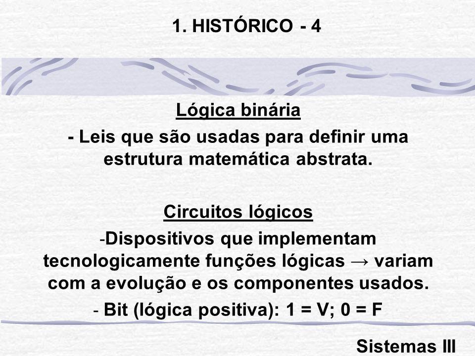Lógica binária - Leis que são usadas para definir uma estrutura matemática abstrata. Circuitos lógicos - Dispositivos que implementam tecnologicamente
