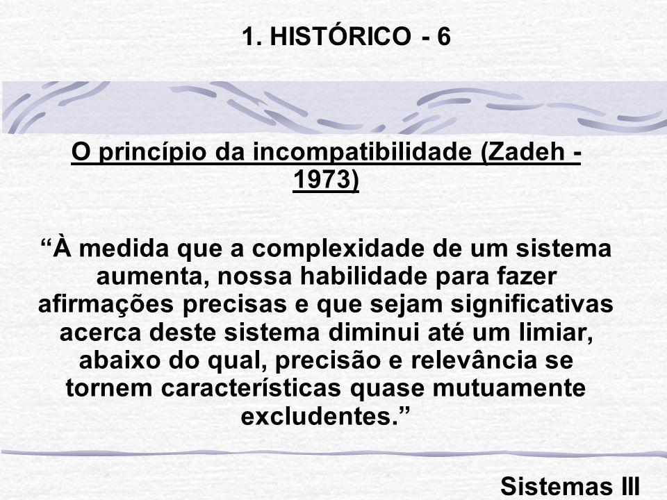O princípio da incompatibilidade (Zadeh - 1973) À medida que a complexidade de um sistema aumenta, nossa habilidade para fazer afirmações precisas e q