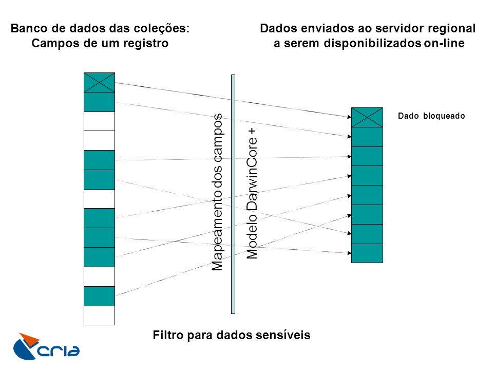 Banco de dados das coleções: Campos de um registro Dados enviados ao servidor regional a serem disponibilizados on-line Filtro para dados sensíveis Ma
