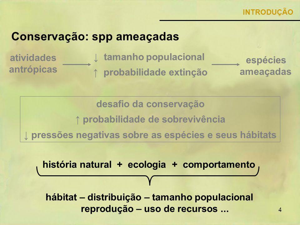 4 Conservação: spp ameaçadas INTRODUÇÃO espécies ameaçadas tamanho populacional probabilidade extinção atividades antrópicas desafio da conservação pr