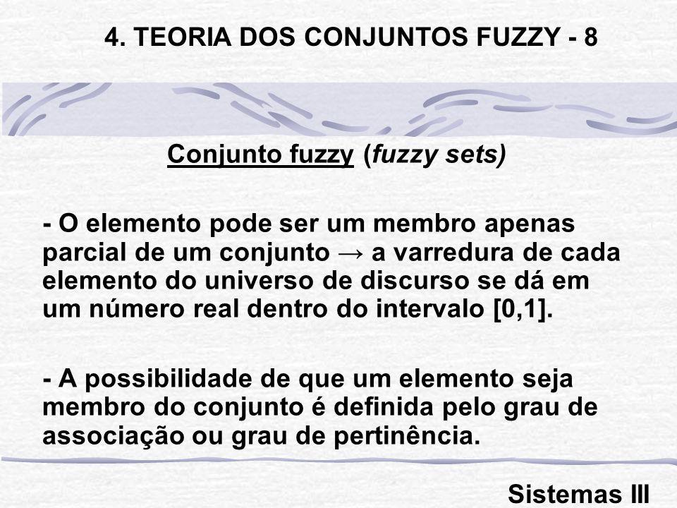 Conjunto fuzzy (fuzzy sets) - O elemento pode ser um membro apenas parcial de um conjunto a varredura de cada elemento do universo de discurso se dá em um número real dentro do intervalo [0,1].