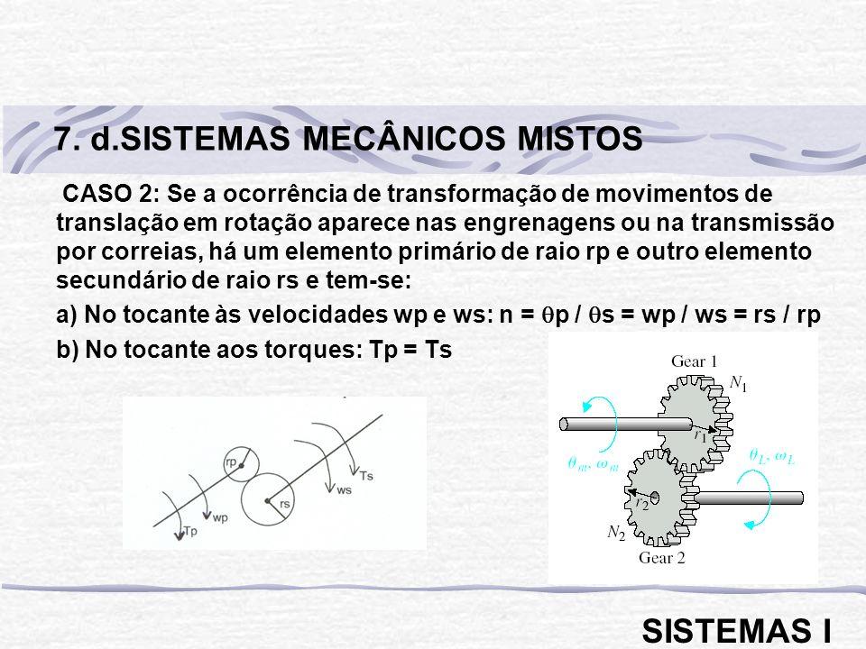 CASO 2: Se a ocorrência de transformação de movimentos de translação em rotação aparece nas engrenagens ou na transmissão por correias, há um elemento