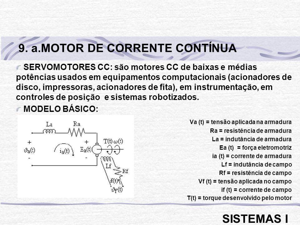 SERVOMOTORES CC: são motores CC de baixas e médias potências usados em equipamentos computacionais (acionadores de disco, impressoras, acionadores de