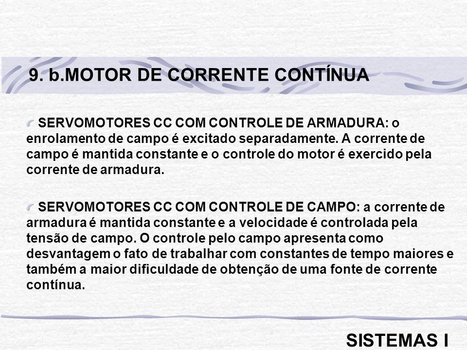 SERVOMOTORES CC COM CONTROLE DE ARMADURA: o enrolamento de campo é excitado separadamente. A corrente de campo é mantida constante e o controle do mot