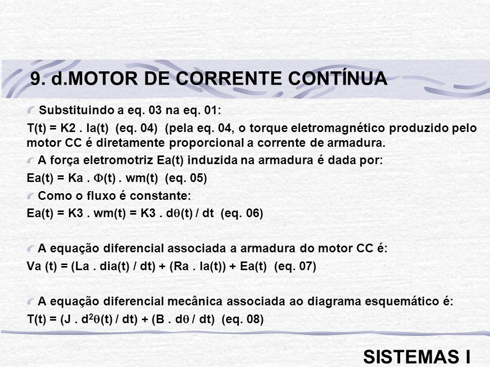 Substituindo a eq. 03 na eq. 01: T(t) = K2. Ia(t) (eq. 04) (pela eq. 04, o torque eletromagnético produzido pelo motor CC é diretamente proporcional a