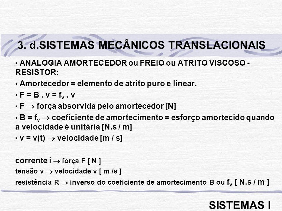 ANALOGIA AMORTECEDOR ou FREIO ou ATRITO VISCOSO - RESISTOR: Amortecedor = elemento de atrito puro e linear. F = B. v = f v. v F força absorvida pelo a