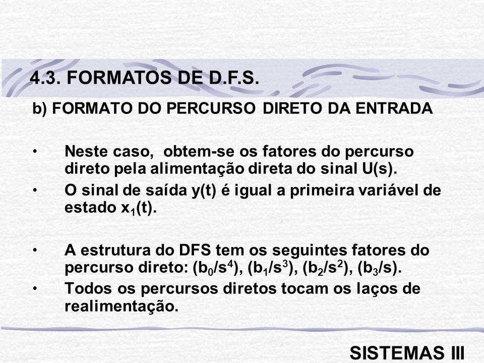 b) FORMATO DO PERCURSO DIRETO DA ENTRADA Neste caso, obtem-se os fatores do percurso direto pela alimentação direta do sinal U(s). O sinal de saída y(