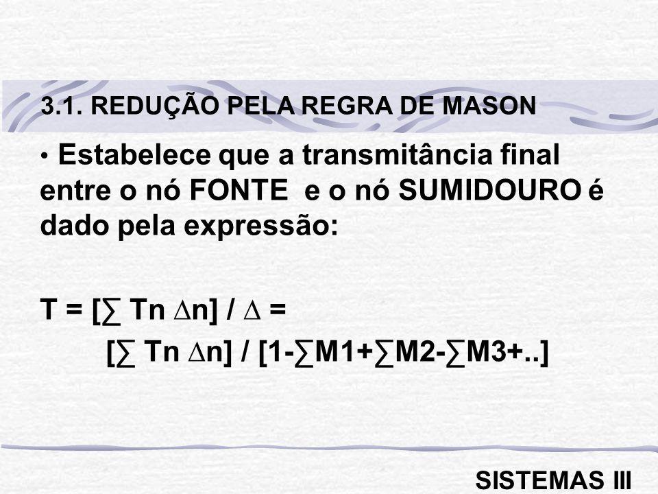 Estabelece que a transmitância final entre o nó FONTE e o nó SUMIDOURO é dado pela expressão: T = [ Tn n] / = [ Tn n] / [1-M1+M2-M3+..] 3.1. REDUÇÃO P