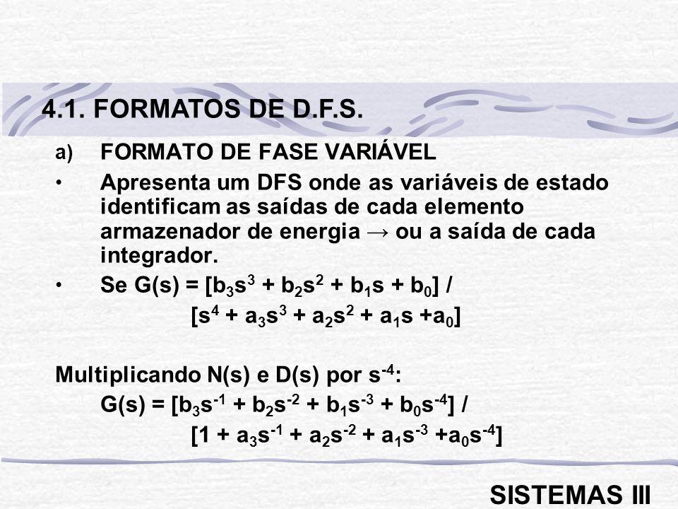 a) FORMATO DE FASE VARIÁVEL Apresenta um DFS onde as variáveis de estado identificam as saídas de cada elemento armazenador de energia ou a saída de c