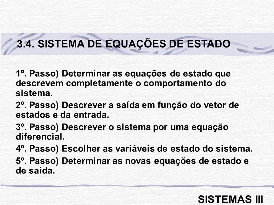 1º.Passo) Determinar as equações de estado que descrevem completamente o comportamento do sistema.