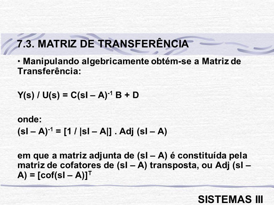 Manipulando algebricamente obtém-se a Matriz de Transferência: Y(s) / U(s) = C(sI – A) -1 B + D onde: (sI – A) -1 = [1 / |sI – A|].