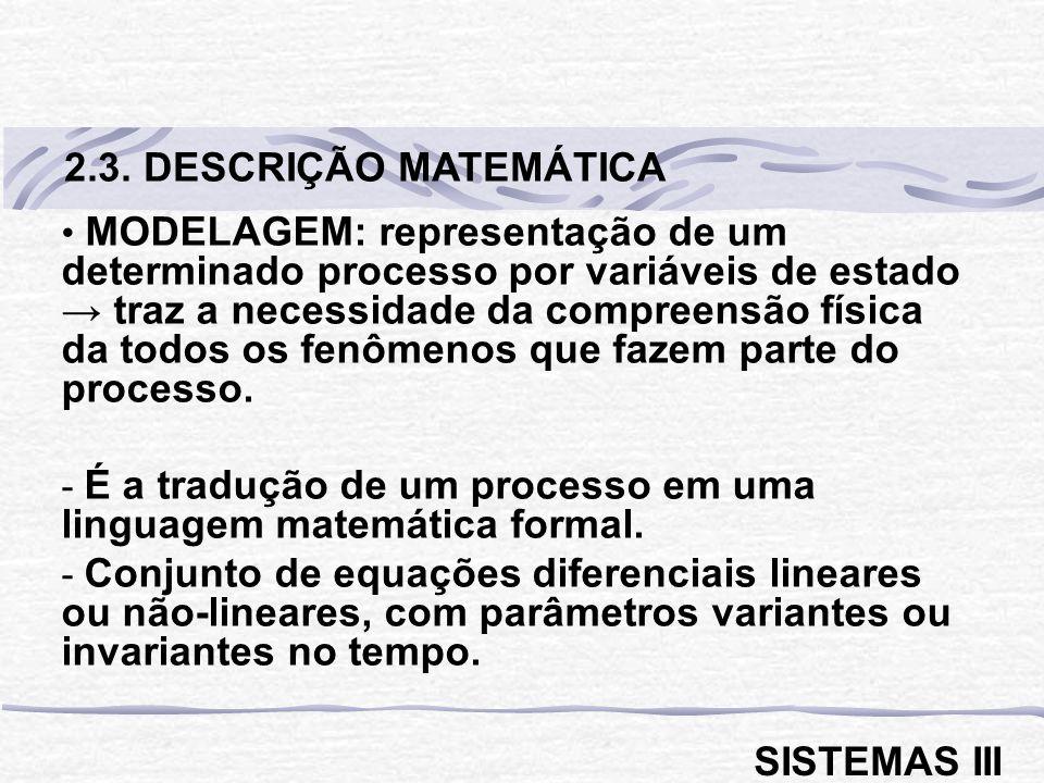 MODELAGEM: representação de um determinado processo por variáveis de estado traz a necessidade da compreensão física da todos os fenômenos que fazem parte do processo.