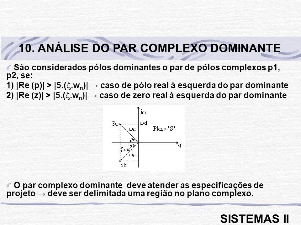 São considerados pólos dominantes o par de pólos complexos p1, p2, se: 1) |Re (p)| > |5.(.w n )| caso de pólo real à esquerda do par dominante 2) |Re