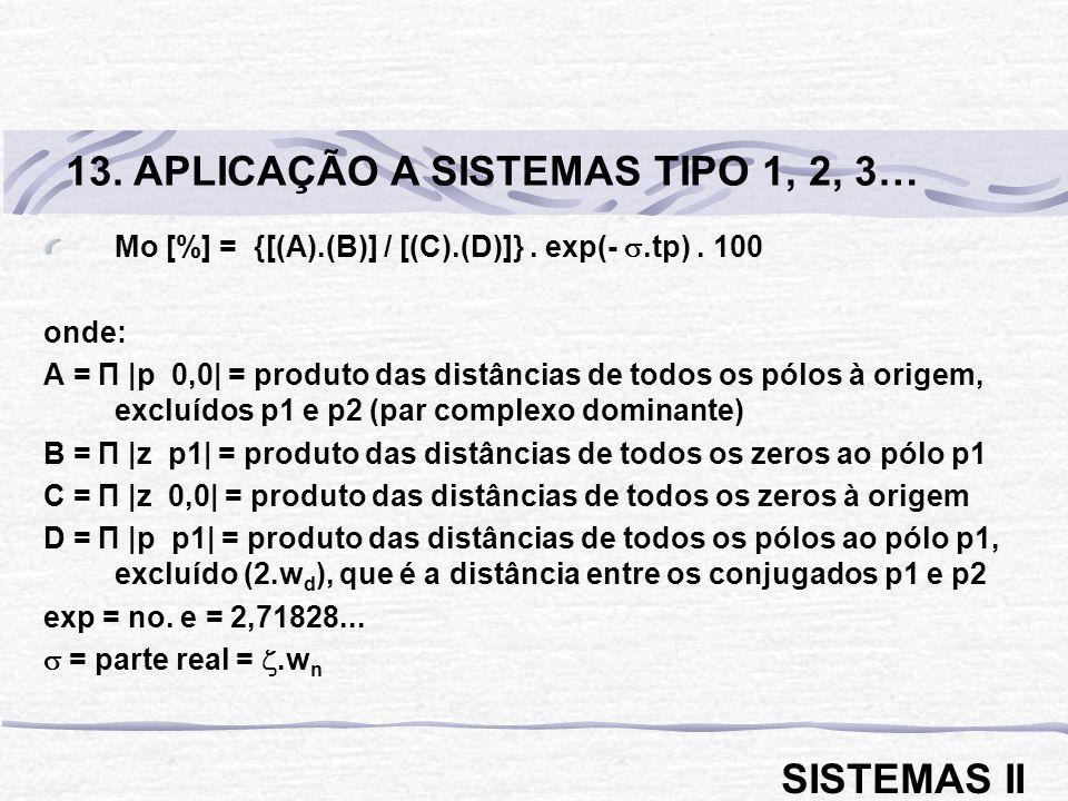 Mo [%] = {[(A).(B)] / [(C).(D)]}. exp(-.tp). 100 onde: A = П |p 0,0| = produto das distâncias de todos os pólos à origem, excluídos p1 e p2 (par compl